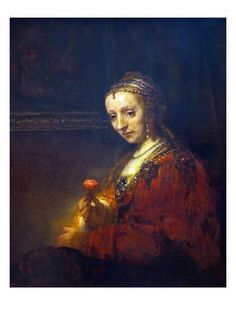 Portrait of a Woman with a Pink Carnation Art Print by Rembrandt van Rijn at Art.com