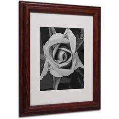 Trademark Fine Art Black & White Rose Matted Framed Art by Patty Tuggle, Wood Frame, Size: 16 x 20, Black
