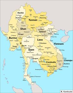 Southeast Asia in my Another America timeline, writeup TBD. Another Southeast Asia Vietnam Map, South Vietnam, Asia Map, Lijiang, Luang Prabang, Fantasy Map, Alternate History, Fantasy Setting, Mandalay
