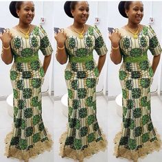 Love it when african prints mixed with lace material