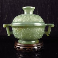 Superb Chinese Natural Hetian Jade Low Relief Incense Burner w Lucky Design