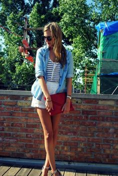 jean shirt, white skirt. amazing