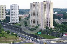 Estate in Katowice, Poland at Avenue Rozdzienskiego , built in the years 1970-1978. Those landmark apartments are called Stars, because the basis of the buildings is the eight-pointed star.