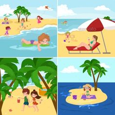 Fun At Beach. Happy Kids Plaing Sand Around Water
