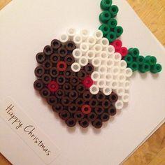 Christmas card hama beads by  redcherryrock