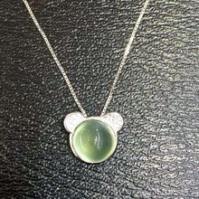 natural green prehnite stone pendant S925 silver Natural gemstone Pendant Necklace trendy Circular Cute cat women gift jewelry //Price: $US $50.15 & Up to 18% Cashback on Orders. //     #jewelry