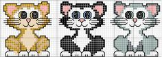 Cross-stitch Cute Kitties... no color chart available, just use pattern chart as your color guide.. or choose your own colors... .. sandylandya@outlook.es Tre Gattini