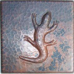 Lizard Hammered Copper Tile