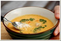 Thai Chicken and Coconut Curry Soup; I am a sucker for Curry, Coconut Milk, and Cilantro, so what's not to like?  I use mushrooms, too, and no brocolli but the general idea of this recipe is good.