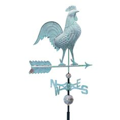 48 in. Verdigris Rooster Copper Weathervane