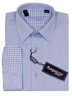 Boy's Dress Shirt 23220 Blue #boyssuits #boyssuitsdotcom #heritagehouse #goodvibes #ragazzo #dressshirt #weave #tonal #contrastcuffs #blue