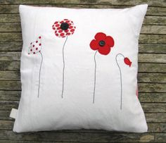 """Red poppy cushion cover, free motion applique on white linen, red flowers, red stripe, 16"""" / 40cm Retails £19.45 on Etsy Tailorbirds"""