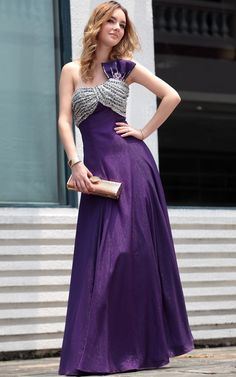 Purple Sexy One-Shoulder Beaded Floor Length Gowns Evening Dress
