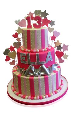 Pink Birthday Cake For Ella This stunning creation was made for Ella on the occasion of her 13th birthday. Ella wanted all things pink and we obliged by using light and dark shades to create a fabulous cake that the birthday girl and the guests were delighted with! http://cmnycakes.com/gallery2/v/Cakes+For+All+Occasions/Pink+Birthday+Cake+For+Ella.html