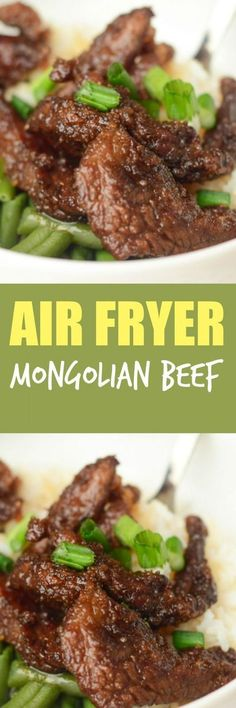 Air Fryer Mongolian Beef with Mommy Hates Cooking - It's #GlutenFree too!