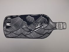Fishing Boat in a Bottle . Original Linocut by AlexYoungPrints