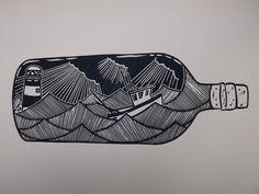 Fishing Boat in a Bottle . Original Linocut by AlexYoungPrints