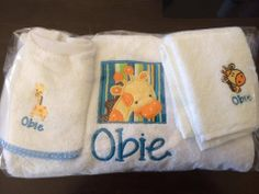 Kids/Baby Gift Embroidered personalized towel, bib  and face washer set - Purple cat embroidery - $50 -giraffe https://www.facebook.com/LyndalsPersonalizedEmbroidery