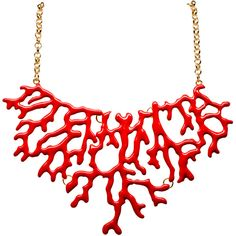 Enamel Coral Branch Necklace ❤ liked on Polyvore