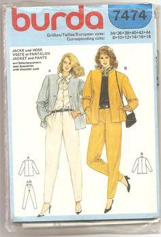 1980' Patron Burda 7474 Veste Pantalon Ensemble 2 pièces Vêtements femme rétro vintage Taille 8 10 12 14 16 18 Non coupé by aBirdOnMyHead on Etsy