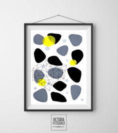 Monochrome Grey Black Abstract Geometric Art Print