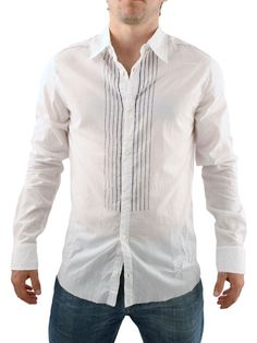 Religion White Shirt Religion Shirt - Mens shirt from Religion - Stripes print to front - Lightweight material and raw edge hem - Fold back detailing on cuff - Stitched detail at back with branding at hem - Product C http://www.comparestoreprices.co.uk/mens-clothes/religion-white-shirt.asp