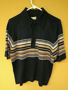 Vintage DONEGAL COLESETA Striped Men's Polo Blue Rat Pack Lounge Shirt L 60-70's