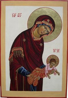 The Theotokos giving Jesus to the world and Jesus opening his arms embracing the world. Religious Icons, Religious Art, Church Icon, Fortune Cards, Images Of Mary, Religious Paintings, Byzantine Icons, Holy Mary, Madonna And Child