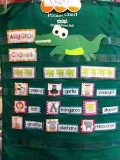 Pocket chart game: Syllables- How many bites to finish the word? Cute way to break up words into syllables!