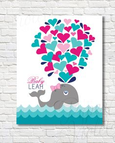 Printable Whale Guest Book Alternative | Baby Shower Guests | Printable Nursery…