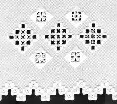 Hardanger Hardanger ist eine norwegische Stickerei und zählt zu den Doppeldurchbrüchen. Die mit Plattstichen gesicherte Arbeit wird zu geometrischen Gittern geschnitten und mit Schlingstichen umstopft. Besondere Füllungen vollenden die Stickerei.