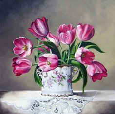 Tulip Painting, Oil Painting Flowers, Watercolor Flowers, Watercolor Art, Flowers Nature, Beautiful Flowers, Tea Cup Art, Watercolor Sketchbook, Amazing Paintings