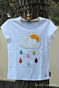 les mil i una idees: Plou i fa sol hashtags Baby Sewing Projects, Sewing For Kids, Baby Girl Dresses, Baby Dress, Baby Set, Baby Kind, Sweater Shirt, Embroidery Applique, Blouse Designs