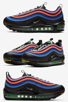 While still two years removed from its 25th Anniversary (and seven from its 30th), the Nike Air Max 97 is keeping up with its '95 and '90 counterparts' 2020 rosters. The latest from the Christian Tresser-designed Air Max is a colorful option for kids. Black bases set the stage for the medley of colors found across the vamp overlays. Shades of blue, red and purple bring flair to the tonal pair in an arrangement reminiscent of the Air Max 97 Neon Seoul.#nikeairmax97