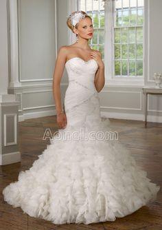 Wedding on pinterest bling wedding dresses flower for Mermaid wedding dresses with feather bottom