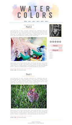 WATERCOLORS colorful blogger template, cute blogger template, blogger layout, pastel blogger theme, blog design