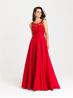A-line Topped with Delicate Beadedwork Satin Red Prom Dress PD12149