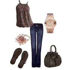 Lila, created by jennifer-garcia-llanes on Polyvore  cute outfit, but LOVE the watch!!