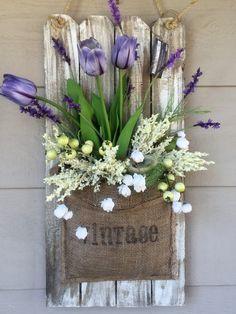 Spring / Easter Wall hanging Floral Arrangement Refurbished wood decor Front porch decor