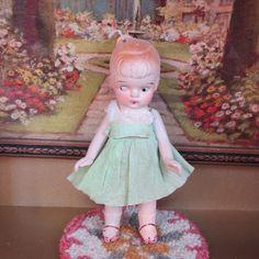 "Crochet Dress for 3 1//2/"" Frozen Charlotte Flapper Bisque Penny Doll Mint"