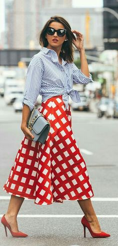 Checkered Midi Skirt Fall Inspo by Lovely Pepa Supernatural Style Fall Skirts, Red Skirts, Red Shoes Outfit, Outfits With Red Shoes, Fashion Outfits, Womens Fashion, Fashion Trends, Fashion Skirts, Outfit Trends