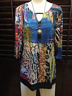 Renuar - Multicolor tunic with keyhole neckline and black hemline  - $72