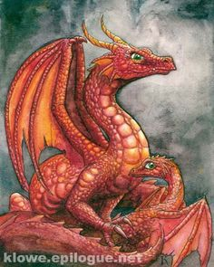 A red dragon by Kathleen Lowe - Fantasy art galleries at Epilogue.net - Fantasy and Sci-fi at their best