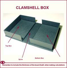 On the face of it - you would imagine that making a clamshell box ought to be a fairly straightforward exercise. I mean essentially its l. Bookbinding Tools, Bookbinding Tutorial, Book Crafts, Paper Crafts, How To Make Box, Handmade Books, Diy Box, Book Binding, Box Packaging