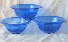 Hazel Atlas Depression Glass Cobalt Blue Set of Nesting Bowls.