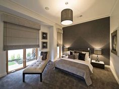 Great Master Bedroom Design Ideas For New Master Bedroom : Grey Bed Bench Grey  Centre Lamp Grey Blinds Grey Carpet Floor Master Bedroom Design Ideas