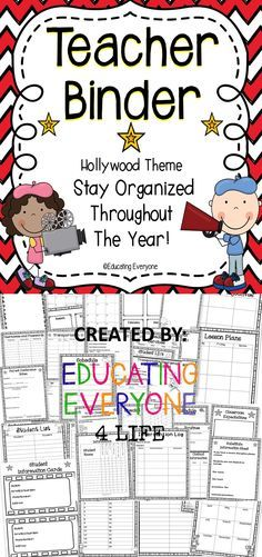 This Hollywood theme teacher binder is a great tool for classroom organization and classroom management!