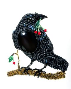 The Raven Beaded Brooch by BeadedNature on Etsy, $375.00