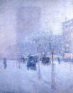 Winter Afternoon , New York - Frederick Childe Hassam 1900 - Impressionism