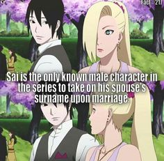 Sai Yamanaka probably so their kids with have that last name for the ino-shika-cho trio team Sai Naruto, Naruto Shippuden Anime, Anime Naruto, Manga Anime, Boruto, Shikamaru, Inojin, Narusasu, Naruhina
